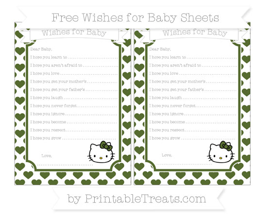 Free Dark Olive Green Heart Pattern Hello Kitty Wishes for Baby Sheets