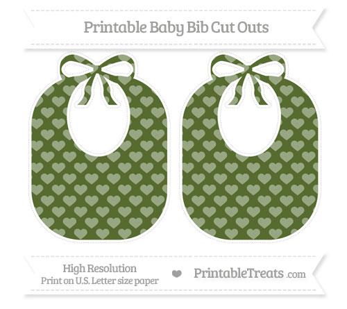 Free Dark Olive Green Heart Pattern Large Baby Bib Cut Outs