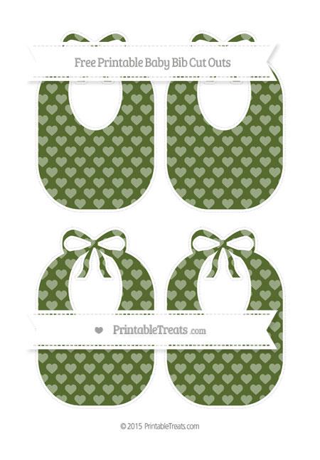 Free Dark Olive Green Heart Pattern Medium Baby Bib Cut Outs