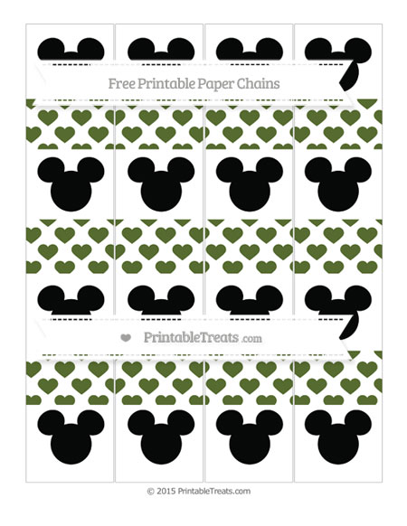 Free Dark Olive Green Heart Pattern Mickey Mouse Paper Chains