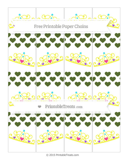 Free Dark Olive Green Heart Pattern Princess Tiara Paper Chains