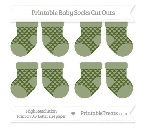 Free Dark Olive Green Heart Pattern Small Baby Socks Cut Outs