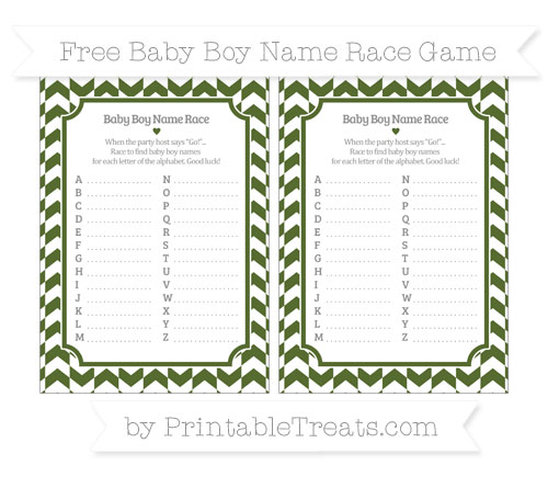 Free Dark Olive Green Herringbone Pattern Baby Boy Name Race Game