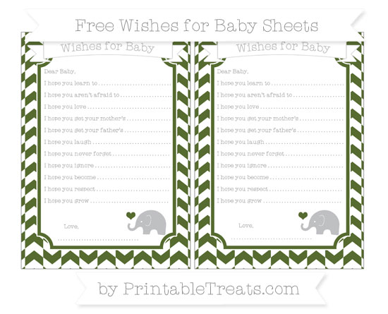 Free Dark Olive Green Herringbone Pattern Baby Elephant Wishes for Baby Sheets