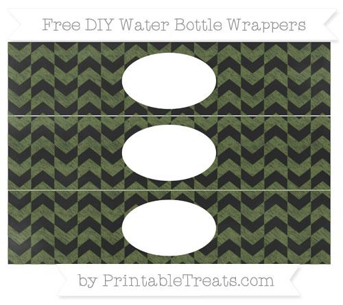 Free Dark Olive Green Herringbone Pattern Chalk Style DIY Water Bottle Wrappers