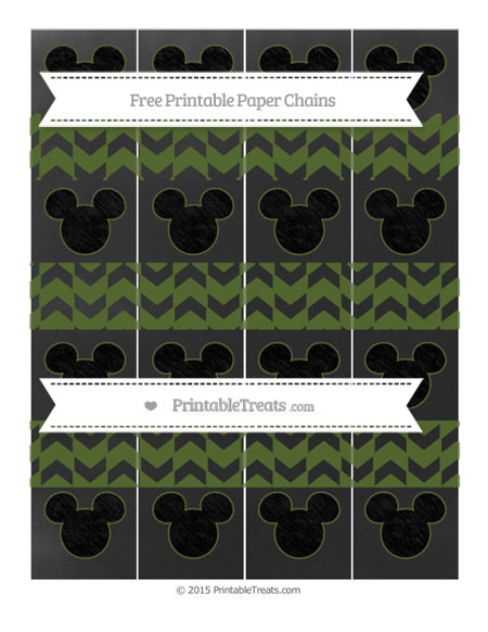 Free Dark Olive Green Herringbone Pattern Chalk Style Mickey Mouse Paper Chains