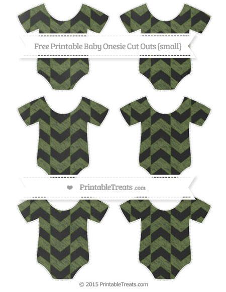 Free Dark Olive Green Herringbone Pattern Chalk Style Small Baby Onesie Cut Outs