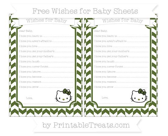 Free Dark Olive Green Herringbone Pattern Hello Kitty Wishes for Baby Sheets