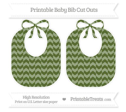 Free Dark Olive Green Herringbone Pattern Large Baby Bib Cut Outs