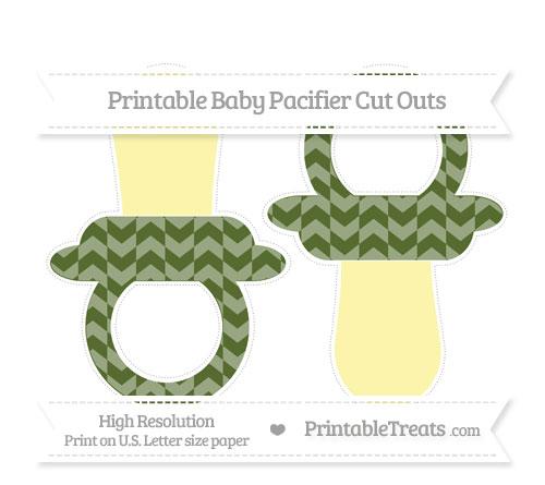 Free Dark Olive Green Herringbone Pattern Large Baby Pacifier Cut Outs