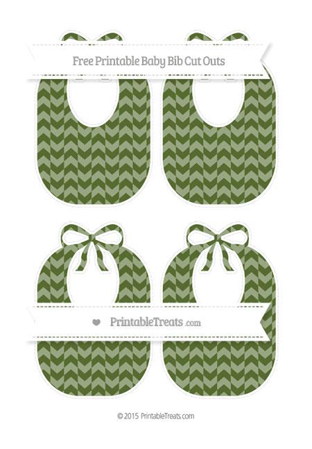 Free Dark Olive Green Herringbone Pattern Medium Baby Bib Cut Outs