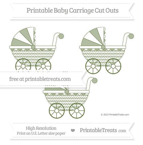 Free Dark Olive Green Herringbone Pattern Medium Baby Carriage Cut Outs