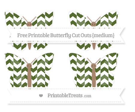 Free Dark Olive Green Herringbone Pattern Medium Butterfly Cut Outs