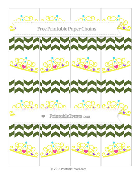 Free Dark Olive Green Herringbone Pattern Princess Tiara Paper Chains