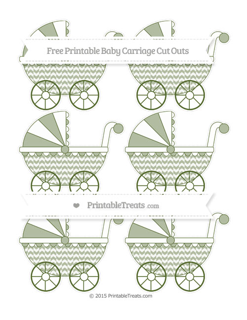 Free Dark Olive Green Herringbone Pattern Small Baby Carriage Cut Outs