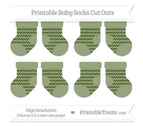 Free Dark Olive Green Herringbone Pattern Small Baby Socks Cut Outs