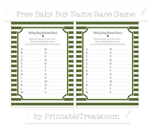Free Dark Olive Green Horizontal Striped Baby Boy Name Race Game
