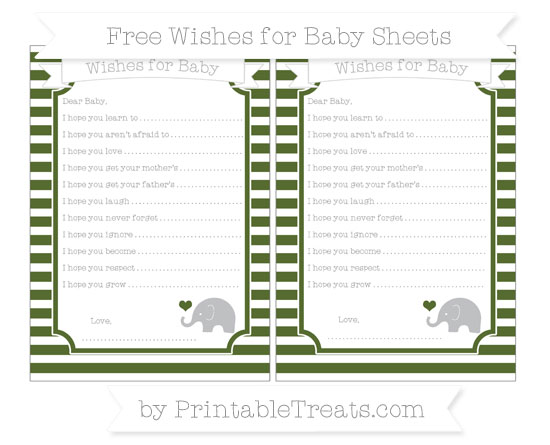 Free Dark Olive Green Horizontal Striped Baby Elephant Wishes for Baby Sheets