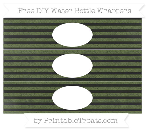 Free Dark Olive Green Horizontal Striped Chalk Style DIY Water Bottle Wrappers