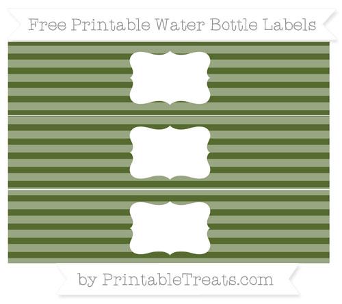 Free Dark Olive Green Horizontal Striped Water Bottle Labels