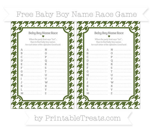 Free Dark Olive Green Houndstooth Pattern Baby Boy Name Race Game