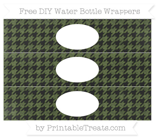 Free Dark Olive Green Houndstooth Pattern Chalk Style DIY Water Bottle Wrappers