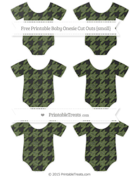 Free Dark Olive Green Houndstooth Pattern Chalk Style Small Baby Onesie Cut Outs