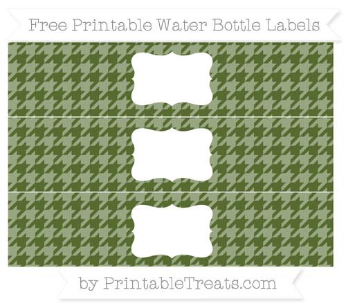 Free Dark Olive Green Houndstooth Pattern Water Bottle Labels