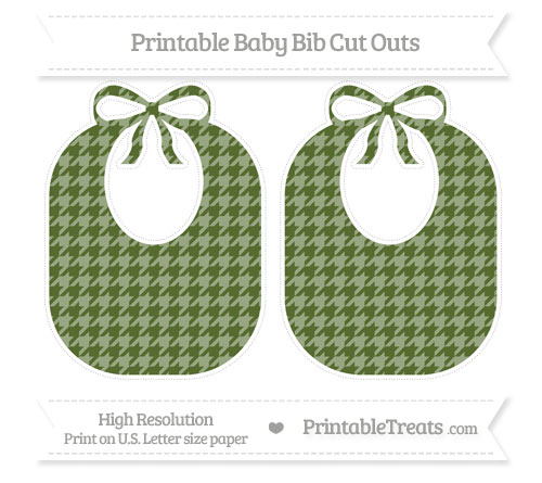Free Dark Olive Green Houndstooth Pattern Large Baby Bib Cut Outs