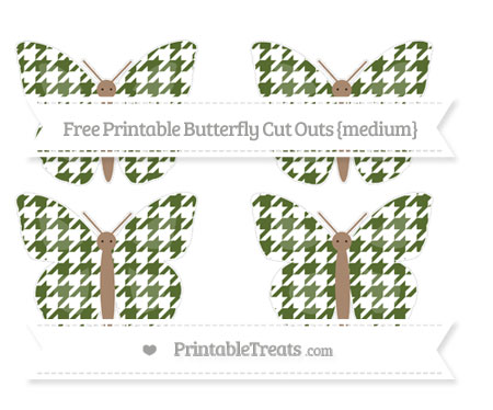Free Dark Olive Green Houndstooth Pattern Medium Butterfly Cut Outs