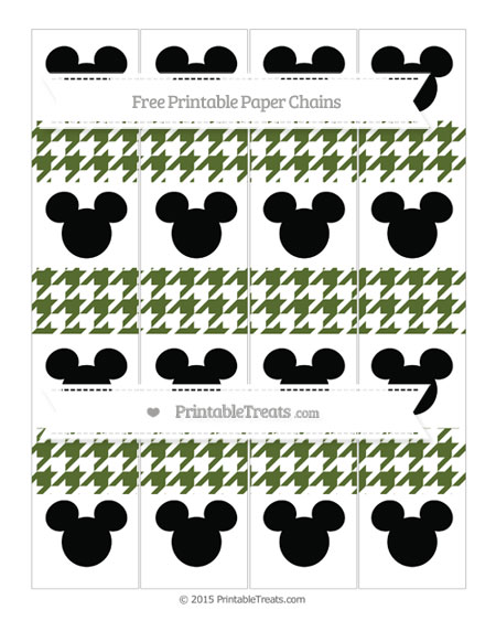 Free Dark Olive Green Houndstooth Pattern Mickey Mouse Paper Chains