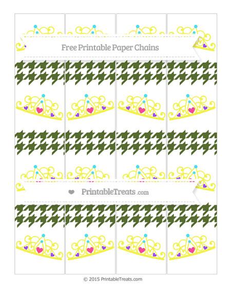 Free Dark Olive Green Houndstooth Pattern Princess Tiara Paper Chains