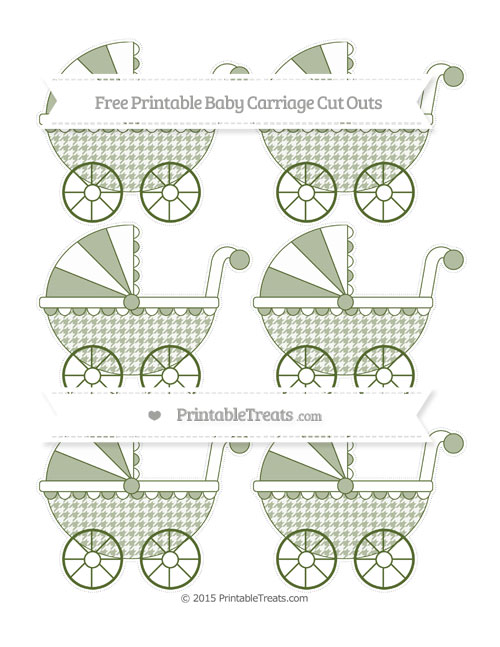 Free Dark Olive Green Houndstooth Pattern Small Baby Carriage Cut Outs