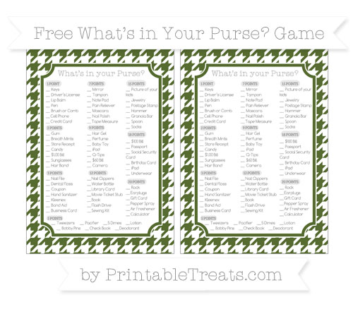 Free Dark Olive Green Houndstooth Pattern What's in Your Purse Baby Shower Game