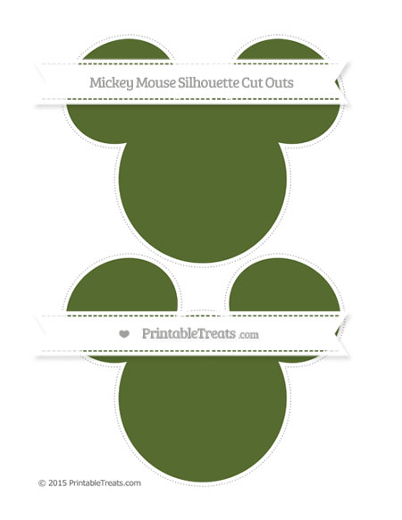 Free Dark Olive Green Large Mickey Mouse Silhouette Cut Outs