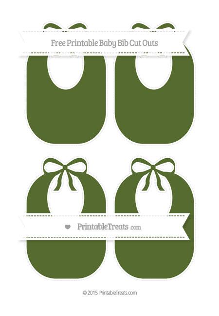 Free Dark Olive Green Medium Baby Bib Cut Outs