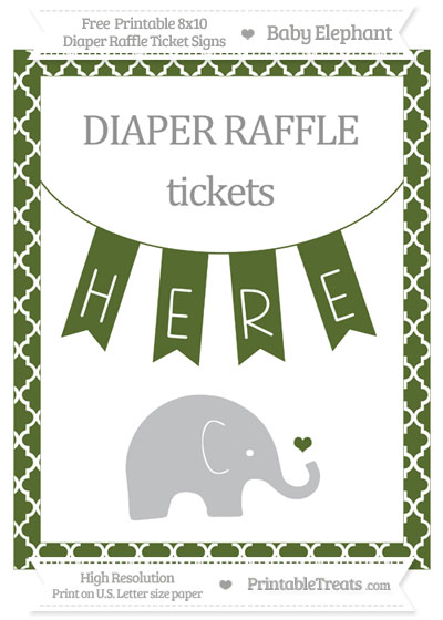 Free Dark Olive Green Moroccan Tile Baby Elephant 8x10 Diaper Raffle Ticket Sign