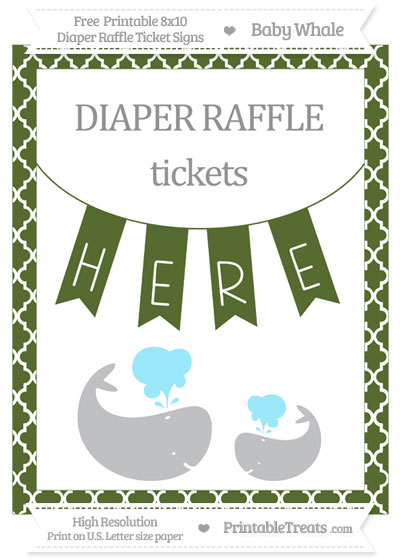 Free Dark Olive Green Moroccan Tile Baby Whale 8x10 Diaper Raffle Ticket Sign