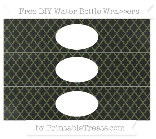 Free Dark Olive Green Moroccan Tile Chalk Style DIY Water Bottle Wrappers