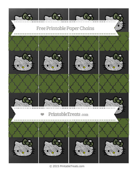 Free Dark Olive Green Moroccan Tile Chalk Style Hello Kitty Paper Chains