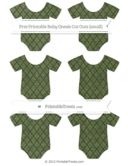 Free Dark Olive Green Moroccan Tile Chalk Style Small Baby Onesie Cut Outs