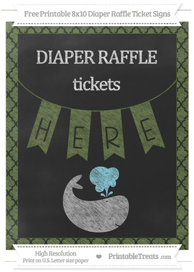 Free Dark Olive Green Moroccan Tile Chalk Style Whale 8x10 Diaper Raffle Ticket Sign