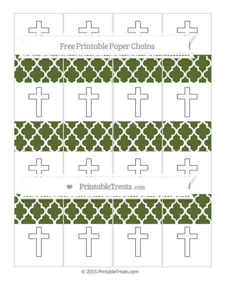 Free Dark Olive Green Moroccan Tile Cross Paper Chains