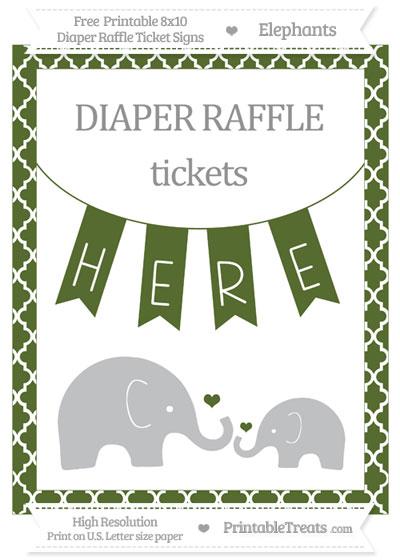 Free Dark Olive Green Moroccan Tile Elephant 8x10 Diaper Raffle Ticket Sign