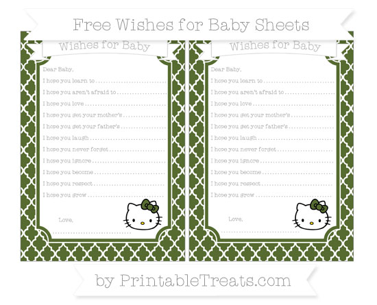 Free Dark Olive Green Moroccan Tile Hello Kitty Wishes for Baby Sheets