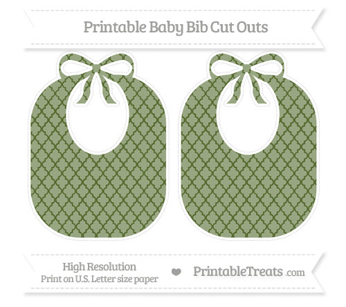 Free Dark Olive Green Moroccan Tile Large Baby Bib Cut Outs