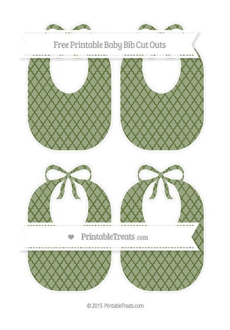 Free Dark Olive Green Moroccan Tile Medium Baby Bib Cut Outs