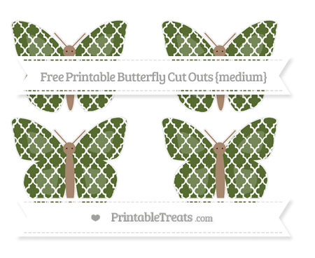 Free Dark Olive Green Moroccan Tile Medium Butterfly Cut Outs