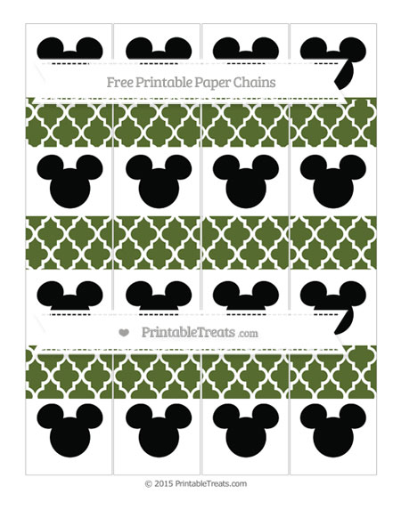 Free Dark Olive Green Moroccan Tile Mickey Mouse Paper Chains