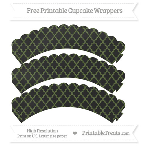Free Dark Olive Green Moroccan Tile Pattern Chalk Style Scalloped Cupcake Wrappers